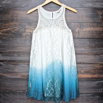 FINAL SALE - Vanity Vintage Lace Flowy Dress in Ombre Teal