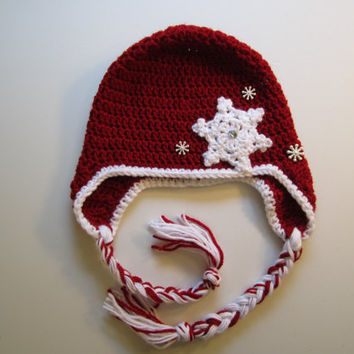 Christmas Hat with Earflaps/Adult - Snowflake Applique - Ready to ship - Perfect for the Holidays and all winter by CROriginals