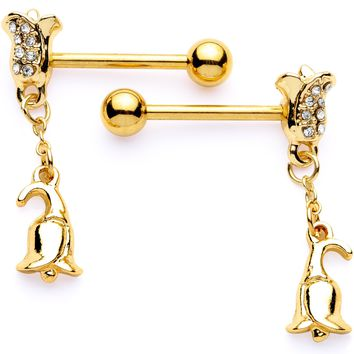 "14 Gauge 5/8"" Clear Gem Gold Tone Tulip Dangle Barbell Nipple Ring Set"