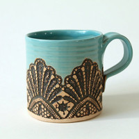Made to Order: Handmade Moroccan Lace Mug in Turquoise