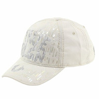 True Religion Women's Sequins Ivory Adjustable Cotton Baseball Hat