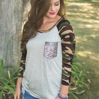 Grey Camo Sleeve Top