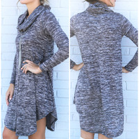 Lunar Love Charcoal Cowl Neck Sweater Dress With Long Sleeves