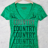 Juniors Country Girl® Sequins Country Deep V Neck Burnout Tee