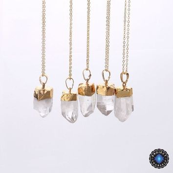 18K Gold Dipped Raw Clear Crystal Quartz Pendant Necklace