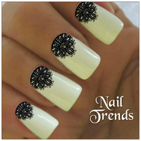 Nail Decals 22 Lace Vinyl Stickers Black Lacey Nail Art