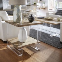 Annika Reclaimed Wood and Acrylic Accent Tables by iNSPIRE Q Artisan | Overstock.com Shopping - The Best Deals on Coffee, Sofa & End Tables