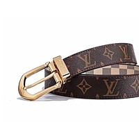 LV Louis vuitton selling a pair of printed monogram checked fashion belt