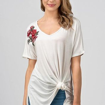 Floral Embroidered Knit Tunic Top