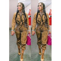 LV Louis Vuitton New fashion monogram print long sleeve top and pants two piece suit