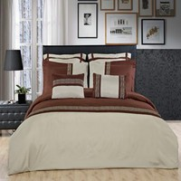 Astrid Sage/Chocolate Embroidered 7 Piece Duvet Cover Set