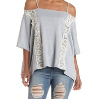 Crochet & Cold Shoulder Sweater Knit Poncho