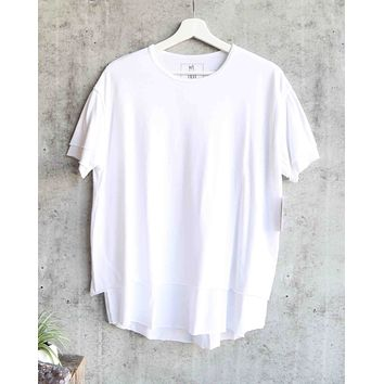 Free People - We The Free - Cloud 9 Frayed Hem Knit Tee in White