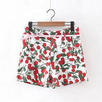 Korean Summer Women's Fashion Print Pants Waistband Shorts [6034553601]