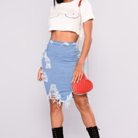 Major Moves Denim Skirt - Light Blue Wash