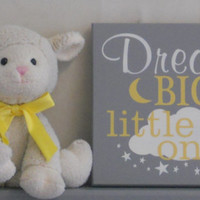 Dream Big Little Ones, Gifts for Twins, Gray and Yellow Twin Baby Girl Nursery Decor, Twins Gift