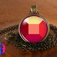 Steven Universe Ruby Gem Necklace Cosplay Glass Photo Pendant Jewelry Toy Gift