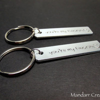 You're My Favorite, Couples Keychains, Heart Stamps, Wedding Gift, Anniversary, Hand Stamped Aluminum Key Chain, Best Friends