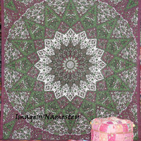 Beautiful Indian Psychedelic Tapestry, Indian Star Mandala Tapestry, Throw Decor Art, Indian Wall Hanging, Queen Size Bedspread,Hippie art