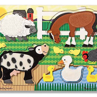 Melissa & Doug Touch & Feel Farm Puzzle - 4 Pieces