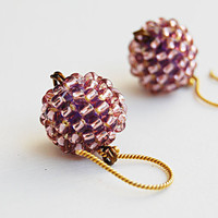 Beaded ball earrings amethyst purple lightweight beadwork vermeil gold earhooks