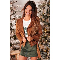 Time To Ride Faux Suede Jacket (Camel)