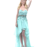 SALE! 2013 Homecoming Dresses - Mint Sequin High-Low Strapless Dress
