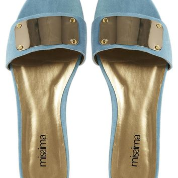 Shoesissima Polly Turquoise Suede Plate Trimmed Mule Flat Sandals 'Ava