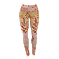 "Marianna Tankelevich ""Summer Music"" Red Orange Yoga Leggings"