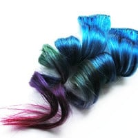 Human Hair Extension, Spring extension hair, extension, blue, green, purple, fuchsia clip in hair, Tie Dye Colored Hair - Dreamy