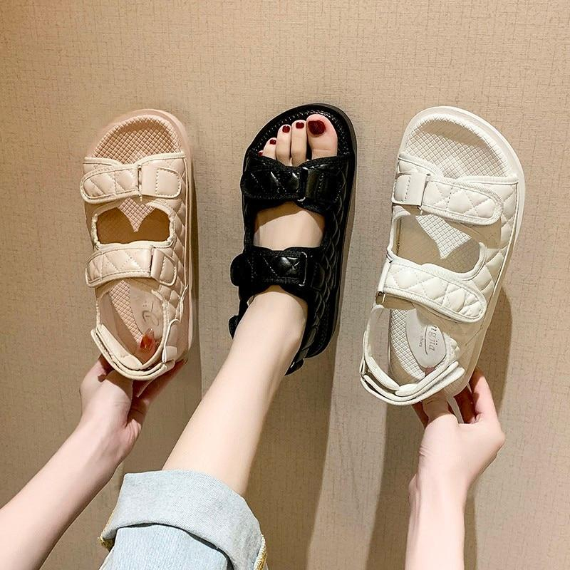 Image of Trends Sandals Summer New Flat British Wind Velcro Embroidery Thick-soled Casual Casual Roman Fragrance Designer Shoes Star