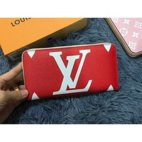 LV Fashion Colour Lady Printed Small Wallet Handbag Red