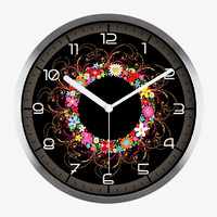 Art Wall Clock With Colorful Flowers In Silver Satin