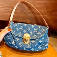 LV VINTAGE denim presley shoulder bag messenger bag