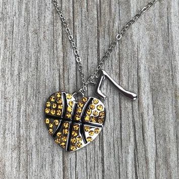 Personalized Basketball Rhinestone Heart Charm Necklace with Number Charm