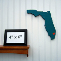 """Miami Dolphins """"State Heart"""" wall art, handcrafted wood with official team colors"""