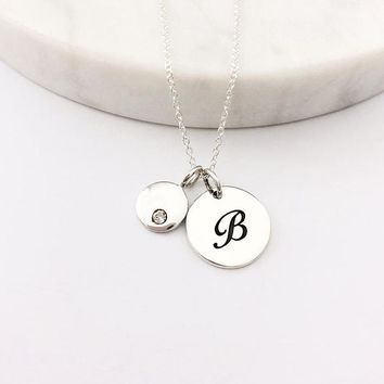Silver Script Initial & Birthstone Charm Necklace
