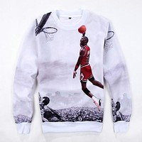 Men's Sports Hoodies Michael Basketball Superstar 3D Printing Hoodies Fashion Casual Round Collar Sweatshirt Long Sleeve Tees
