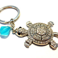 Rhinestone Turtle Keychain, Caribbean Blue Sea Glass Key Chain, Wire Wrapped Sea Glass Key Ring, Gift for Beach Lover, Cute Car Accessory