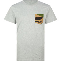 Blue Crown Camo Mens Pocket Tee Grey  In Sizes