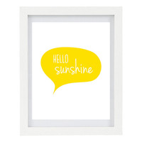 Hello Sunshine, Typography Art Print, Modern Home Decor, Yellow Home Decor, Summer, 8 x 10 Print
