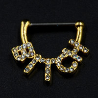 "1 Piece Gold Plated 316L Surgical Steel& Brass CZ Gemmed ""Bitch"" Nipple Clicker Shield Cap Piercing Ring Body Jewelry 16g"