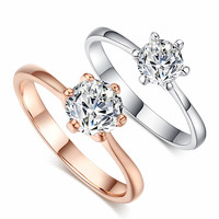 18K Real Gold Plated Six Claw Crystal Ring Wedding Engagement Jewelry For Women Love Girlfriend Promise