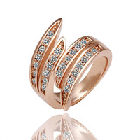 Lady's Brass Rose Gold Plated Elegant Swan Ring with Clear Round Swarovski Elements Stones Lines - Size 7