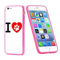 Popular Apple iPhone 6 or 6s Dog Lover Paws Love Cute Gift for Teens TPU Bumper Case Cover Mobile Phone Accessories Hot Pink