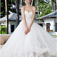 Ball Gown Sweetheart Charmeuse And Stretch Satin Lined Floor-length Wedding Dresses