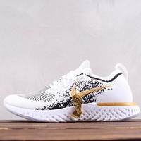 HCXX Nike Epic React Flyknit Net Surface Champion Running Shoes  White Black Gold 39-