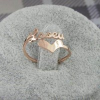 Love and Heart Titanium Steel Ring by forevervintage on Zibbet