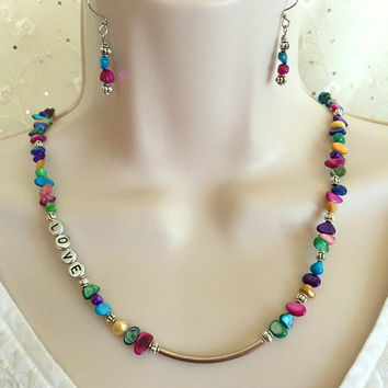 Love necklace, Shell necklace set, Jewelry set, Multi Color necklace, Beaded necklace set, Mother of Pearl necklace
