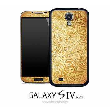 Golden Raised Floral Skin for the Galaxy S4